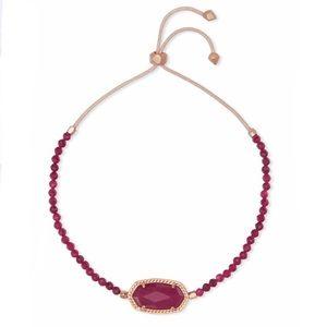 Kendra Scott Elaina Rose Gold Bracelet Maroon Jade